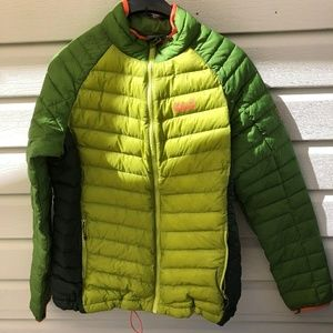 Jack wolfskin lime green micropuff down jacket.
